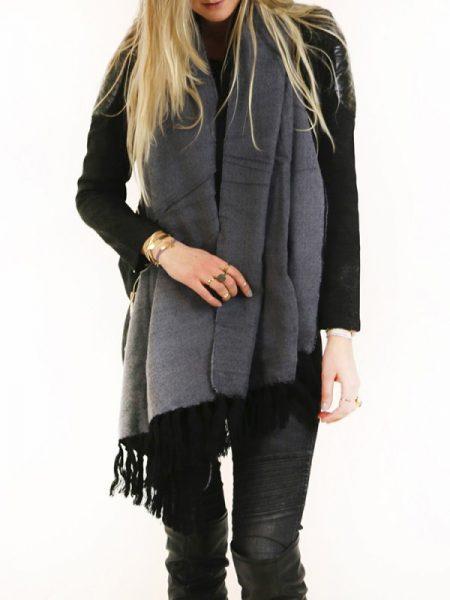wintersjaal, sjaal, zwarte wintersjaal, zwarte sjaal, two tone zwart sjaal
