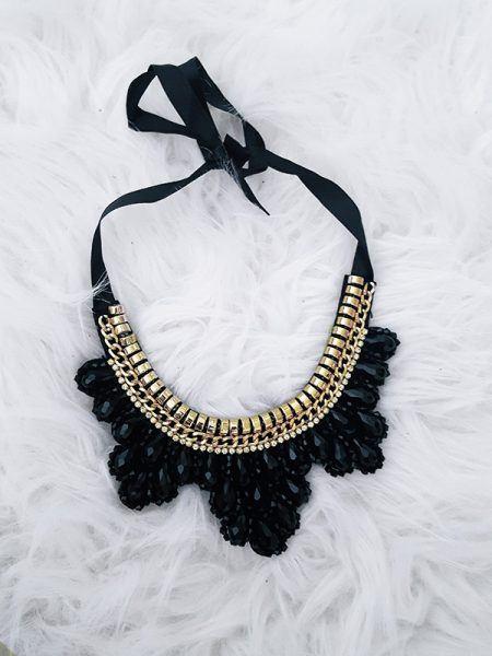statement ketting zwart, zwarte ketting, vilt ketting zwart, statement zwart ketting, fashion musthaves webshop