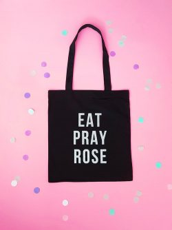 eat pray love, eat pray rose, canvas tas, canvas tas glitters, tas met glitters, canvas tas print, zwarte tas canvas, im a fashionlover, fashion musthaves webshop, sieraden webshop, tassen webshop
