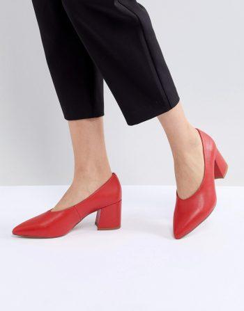 Matt & Nat Sibyl V Cut Block Heeled Point Shoe - Ruby